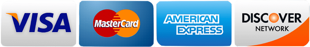 We accept all major credit cards: Visa, MasterCard, Discover Network and American Express